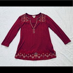 Lucky Brand Women's Embroidered Peasant Top